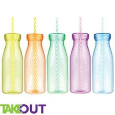 1-24 milkshake Plastic Bottle with Straw party vintage retro drinking