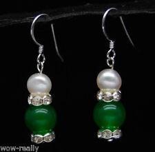 White Pearl Silver Hook Earrings Pretty 10mm Green Jade & Natural