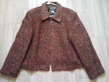 Nouveaux Petite Women Multi-color Tweed Zip Front Cropped Jacket         Size 16