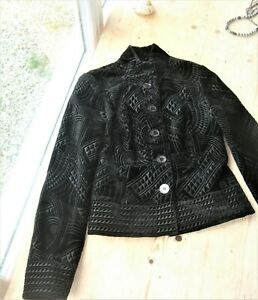 GHOST Embroidered black Silk Velvet Jacket SZ 8, Fits 6 better- Art Deco design