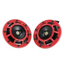 2PC Red Loud Compact Electric Blast Super Tone Hella Horn for CAR/TRUCK 12V D4G1