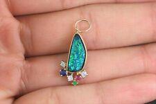 14K Yellow Gold Inlaid Natural Opal Diamond Sapphire Ruby Emerald Charm Pendant