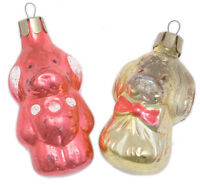 2 Dogs puppy OLD VINTAGE glass XMAS ORNAMENT Russian Tree decoration