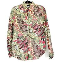 Roberto Cavalli Womens Blouse Peacock Floral Gold Glitter Abstract Top Size M