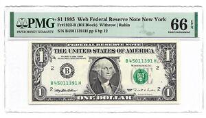"1995 $1 NEW YORK """" WEB """" FRN, PMG GEM UNCIRCULATED 66 EPQ BANKNOTE"