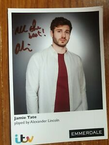 ITV Emmerdale Jamie Tate Hand Signed Cast Card Alexander Lincoln  Autograph