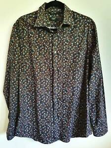 DAVID SMITH FLORAL PRINT LONG SLEEVE SHIRT MADE IN ITALY SIZE 15 ½