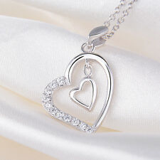 """Anhänger für Halskette """"Herz in Herz"""" echt Sterling Silber 925 Zirkonia Damen"""