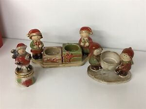 Yankee Candle Ceramic Tea Light Holder, Boys Kids With Snowball by Ronnie Walter