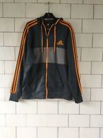 URBAN VINTAGE RETRO BOLD GREY ADIDAS CLIMALITE SWEATSHIRT HOODIE JACKET MEDIUM