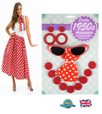 4Pcs POLKA DOT ACCESSORIES SET 1950s Womens Fancy Dress Costume Vintage Outfit