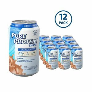 Pure Protein Ready to Drink Shakes, High Protein Cookies N' Cream, 11oz, 12 c...