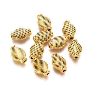 10pcs Antique Golden Tibetan Alloy Oval Beads Metal Loose Spacer Beads 12x8mm