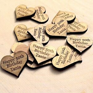 Personalised WoodenBirthday Party Hearts. Table Decorations, Rustic, Vintage.