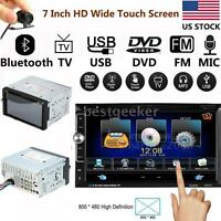 "2 DIN 7"" HD Car Stereo DVD CD Player Bluetooth Radio MP3 MP4 TV USB Camera L9D1"