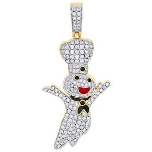 "10K Yellow Gold Diamond Doughboy Pendant 2.25"" Red / Black Enamel Charm 2 CT."
