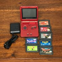 Nintendo Gameboy Advance SP Red GBA SP Handheld System, Charger & 7 Games Lot