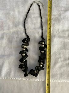 Betsey Johnson Black Ribbon Pearls & Sparkle Bead Necklace Pre-owned
