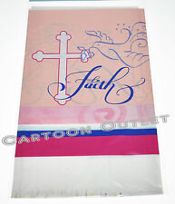 "CROSS TABLECOVER 43"" X 70"" PARTY BAPTISM BAUTIZO PLASTIC PINK DOVE COMMUNION"