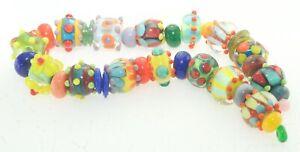 OliveStuart Handmade Lampwork Beads 34 bright round/cube