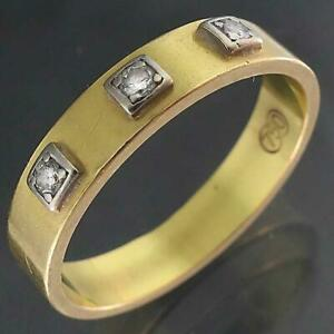 Retro 1970's Solid 18k Yellow GOLD 3 DIAMOND ETERNITY RING Band Sz M1/2