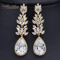 Ohrhänger Luxury Ohrringe Zirkonia AAA Kristalle STELLUX™ Gold / Weiss