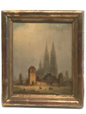 1860 Oil Painting French ,Cityscape, Fort De Chartres And Cathedral