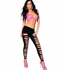 Fashion Womens Goth Punk Slashed Ripped Cut Out Slit Stretchy Pants Leggings