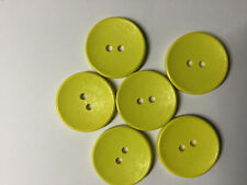 6 Bright Yellow Wooden Buttons. 30mm. Two Holes. Ideal for sewing, scrapbooking,