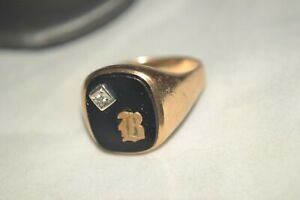 Vintage 10k Yellow Gold 10g Diamond Onyx Initial Letter B Signet Mens Ring SZ 10