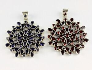Garnet Iolite Pendant Real Gems 925 Silver Vintage Size Classy L 2 13/16in