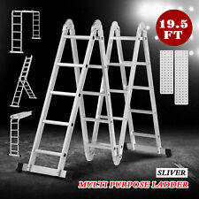 19.5FT Telescoping Extension Ladder Aluminum Folding Step Ladder All Purpose New