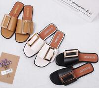 Womens Ladies Flat Sliders Slip On Slides Summer Beach Holiday Sandals Mule Size