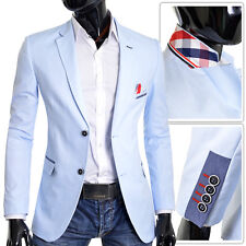 Men's Blazer Light Blue Jacket Casual Formal Check Finish Slim Fit Wedding UK