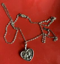 Sterling Silver 925 Italy Guardian ANGEL Cherub Kiss Pendant Necklace ❤️tb5m
