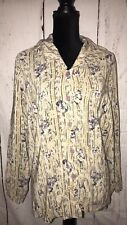 Melrose Silk Collection Sz 18 Plus Size 100% Silk Cream Floral Button Up Top