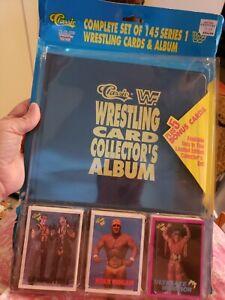 1990 Classic WWF Complete Set w Collector's Binder Album 145 Set plus 5 Bonus