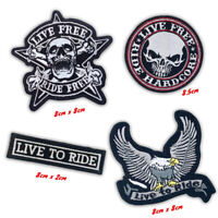Live to ride, Live free ride hardcore badges Iron or Sew on Embroidered patches