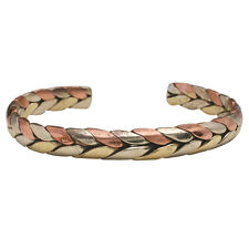 Tibetan Energy Copper, Brass, and Nickle Metal Cuff Bracelet - Trinity Braid