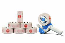 """36 Rolls White Printed Packing Stop Sign Tape 2"""" x 110 Yds 2 Mil with Dispenser"""