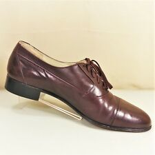 Brass Boot Italy Mens Burgundy Leather Cap Toe Dress Oxfords Shoes Size 8.5