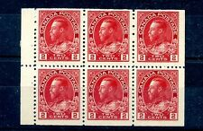 #106a Booklet Pane of 6, F-VF MNH Canada mint LITE GUM BEND Admiral DEEP RED