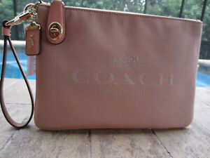 NWT Coach Jacquard & Leather Large Wristlet-Clutch, Faded blush, C3387
