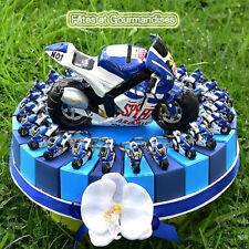 Moto sportive bleue gateau pour communion, anniversaire, dragees, bonbons
