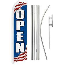 Patriotic Open Advertising Swooper Flutter Feather Flag Kit We're Open Now