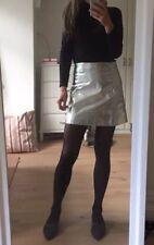 Zara Woman Real Leather Silver Mini Skirt Size A