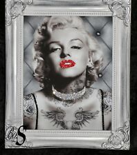Marilyn Monroe Tattoo Lovers Glitter picture,Silver Shabby Chic Frame.