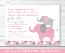 Pink Polka Dot Elephant Jungle Printable Baby Shower Invitation Editable PDF