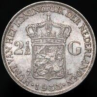 1933 Netherlands Wilhelmina I 2 1/2 Gulden 'Deep Hair Lines' | Silver | KM Coins