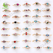 Wholesale Lots 50pcs Mixed Exquisite Crystal Rhinestone Gold filled woman Rings